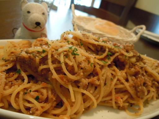 鶏レバーのラグーと白ネギのスパゲティー