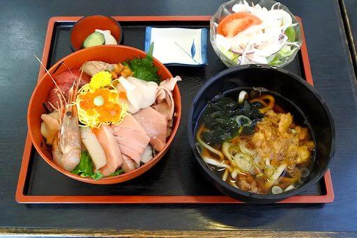 三陸丼+うどん